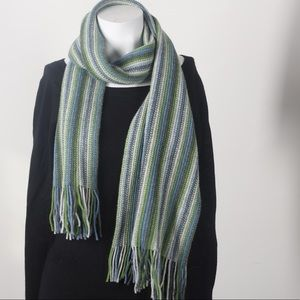 Blue/green Italian winter scarf. Wool/nylon